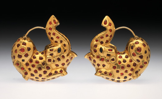 Pair of Earrings in the Form of Dancing Elephants. India, Deccan, 19th century Jewelry and Adornments; earrings Gold inlaid with rubies and sapphires
