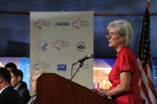 Secretary Sebelius gives remarks at the launch of the Million Hearts Initiative, which aims to prevent 1 million heart attacks and strokes over the next five years. HHS photo by Chris Smith