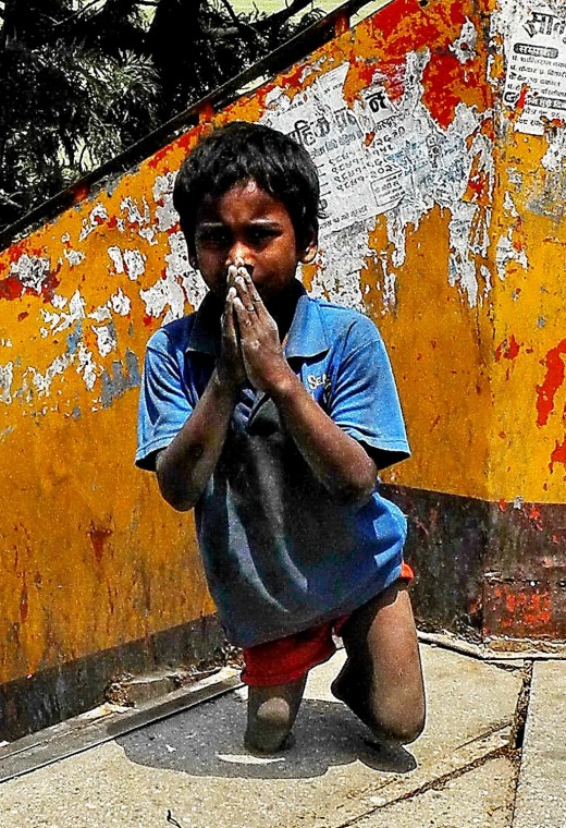 This handicapped child from Nepal has tough times and he is praying.