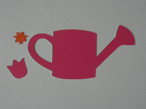 Pink heavy-weight cardstock Top Layer , small tulip and small daisy center in orange