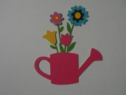 Finished flower bouquet in watering can