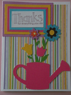 Adhere finished Flower Bouquet to bottom right of card
