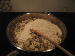 add rice and stir through