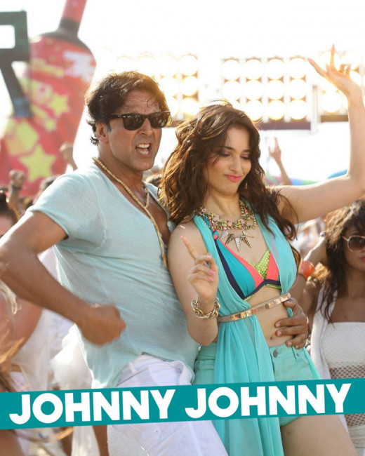 Nursery rhyme was never this catchy, till it got a Bollywood twist. Check out the video song Johnny Johnny featuring Akshay Kumar and Tamannaah Bhatia from the movie Entertainment.Watch Johnny Johnny full video song from Akshay Kumar movie.