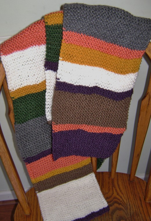 Yards of garter stitch create the iconic Dr. Who scarf.