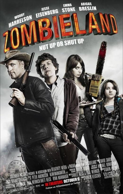 "Woody Harrelson, Jesse Eisenberg and Emma Stone in ""Zombieland"""