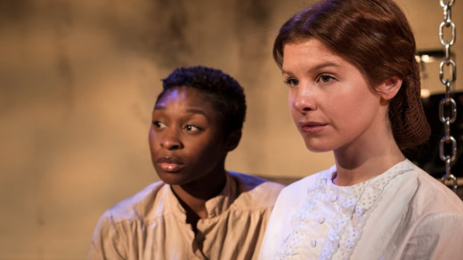 Cynthia Erivo (Dessa Rose) and Cassidy Janson (Ruth) star in 'Dessa Rose' at the Trafalgar Studios, London