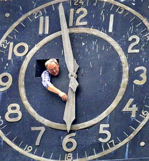 Changing clocks for daylight savings time. Some people think they lose time, others think they gain time.