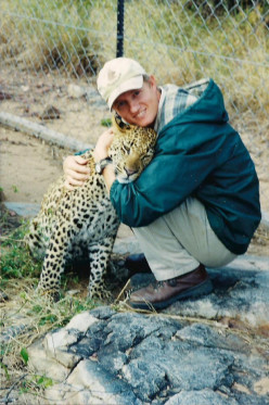 This was a very special leopard that I hand raised, called Mathimba. He was about 14 months old here.