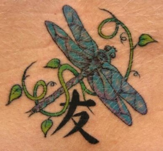 These dragonfly tattoos can be as unique as a person wants. Usually they are full of color and are very lively tattoos.