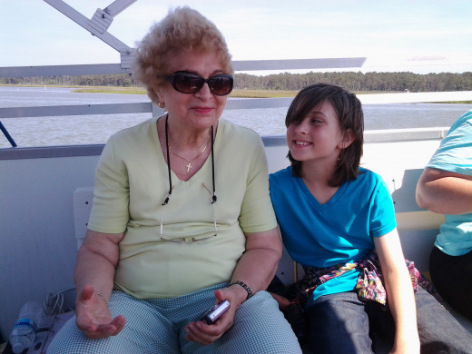 My mother and daughter on the nature boat tour between the islands.