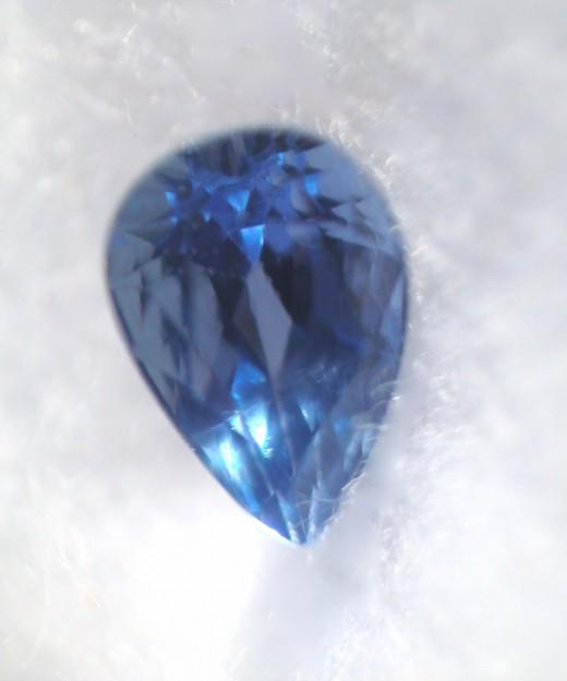 Cornflower blue Yogo sapphire.  0.43 carat, high quality, cornflower blue Yogo sapphire from Yogo Gulch, Montana. This gem is cut in the pear shape.
