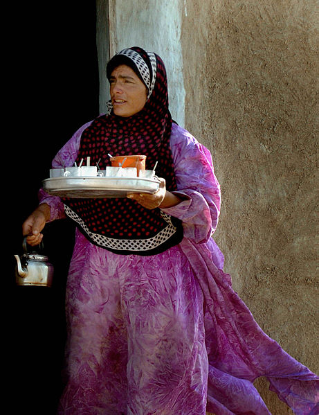 Yazidi woman in a village near the Sinjar Mountains.