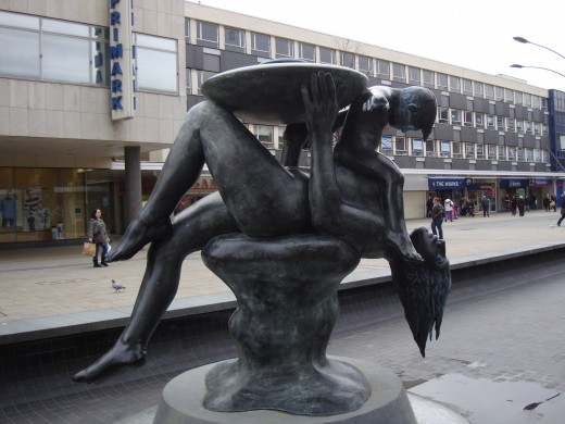 Photograph of the Mother and Child Statue, Basildon town centre, Essex, England
