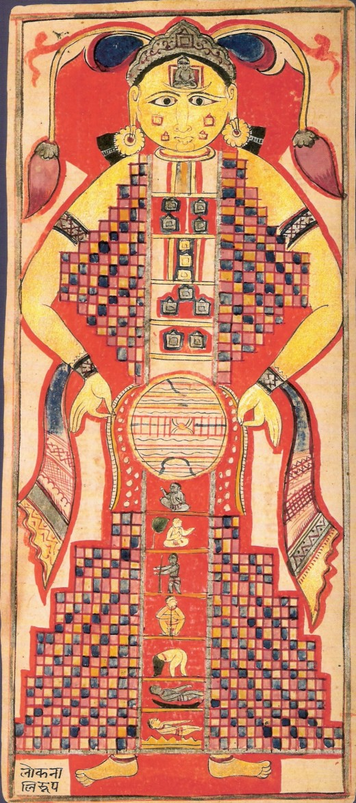 Shape of Universe as per Jain cosmology in form of a cosmic man. From Samghayanarayana loose-leaf manuscript India; ca. 16th century Ink, opaque watercolor, and gold on paper. The Jain universe is divided into three basic realms, which together form