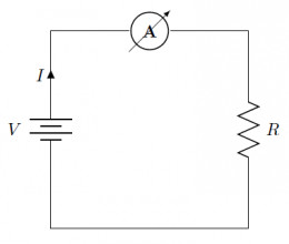 Schematic of our circuit with an ammeter placed in series to measure current I