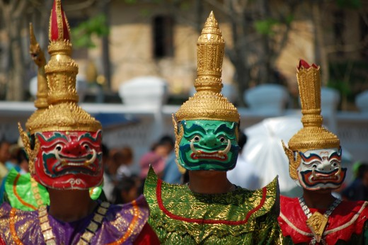 Traditional Lao dance costumes.