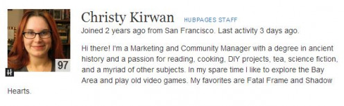 Screen Shot of Christy Kirwan HubPage Staff Member Screen Shot Homepage http://christykirwan.hubpages.com/