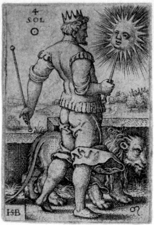 5. Zodiac Leo: The Seven Planets - Sol, the Sun. Beham, (Hans) Sebald (1500-1550): Sol, from The Seven Planets with the Signs of the Zodiac, 1539 (Bartsch 117; Pauli, Holl. 119), second state of five.
