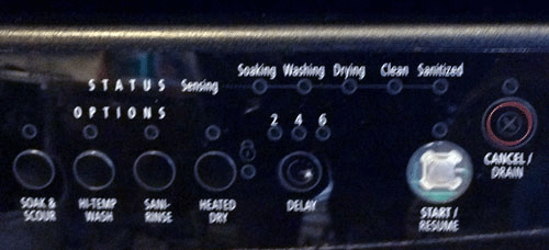 Dishwasher control panel - Options