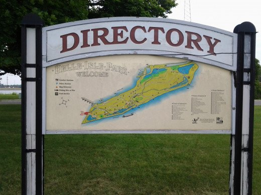 Directory to the Belle Isle at Entrance to Belle Isle Park.