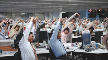 office workers stretching