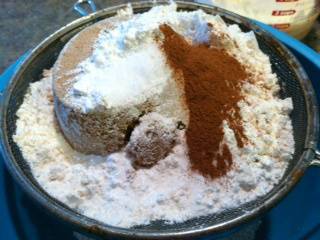 Sifting the dry ingredients together.