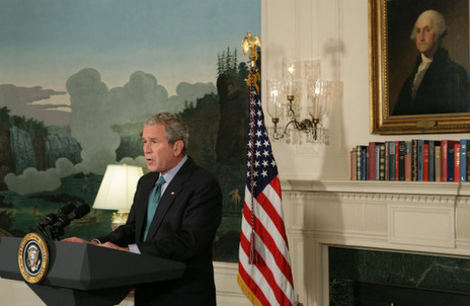 "President George W. Bush delivers a statement at the White House Tuesday, Sept. 30, 2008, regarding the economic rescue plan. Said the President, ""We're at a critical moment for our economy, and we need legislation that decisively address the trouble"