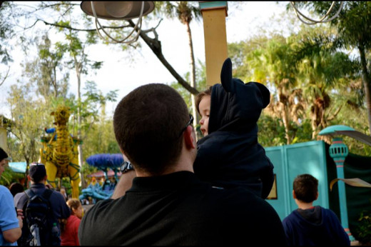 My Son and I enjoying Mickey's Jammin' Jungle Parade at Animal Kingdom in Walt Disney World