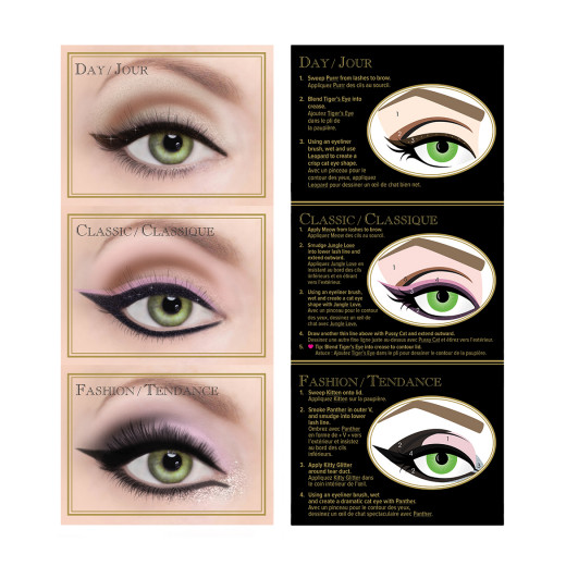 A visual on three ways you can create eye-inspired cat-eye looks with this product.