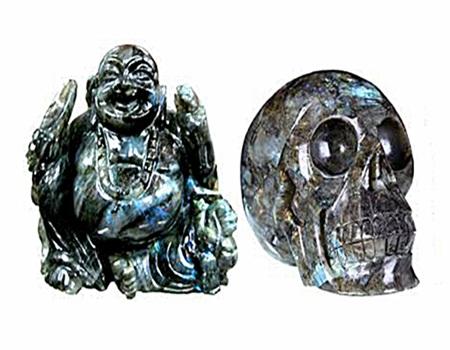 Labradorite rock Laughing Buddha and Skull Carving
