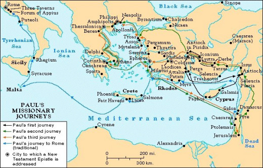 A representation of the missionary journeys of Paul and the resulting spread of the 'law-free' gospel.