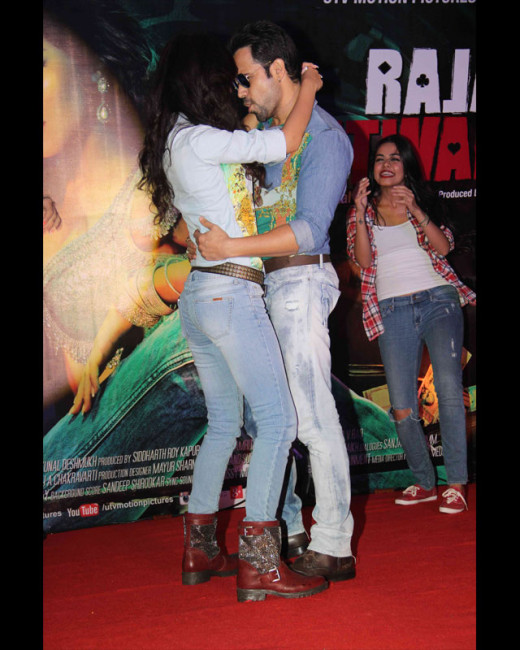 Emraan Hashmi and his leading lady of the film Raja Natwarlal, Humaima Malick, were clicked at the launch of song 'Flip Your Collar' from their upcoming film.