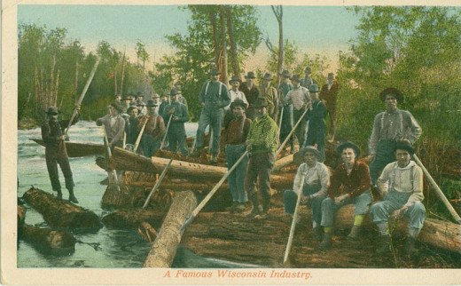 Postcard showing lumberjacks