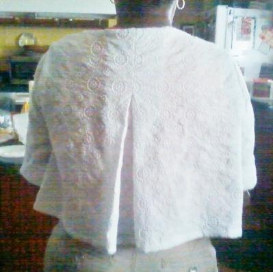 My friend wearing her vest showing back pleat.