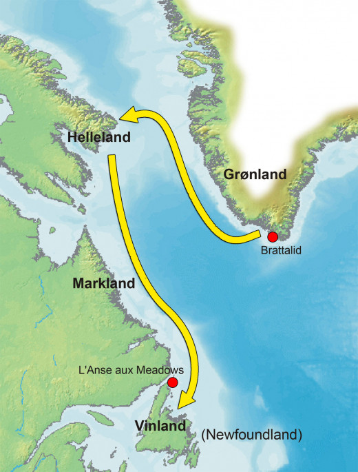 The route as it would appear in modern mapping, leading from nearby Greenland to 'Vinland', land of wild growing vines and crops that even before the 14th Century climate change would have disappeared this far north