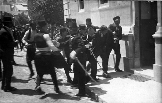 Soldiers arrest 19 year old Gavrilo Princip after the assassination of Archduke Franz Ferdinand and his wife, Sofia, in Sarajevo.