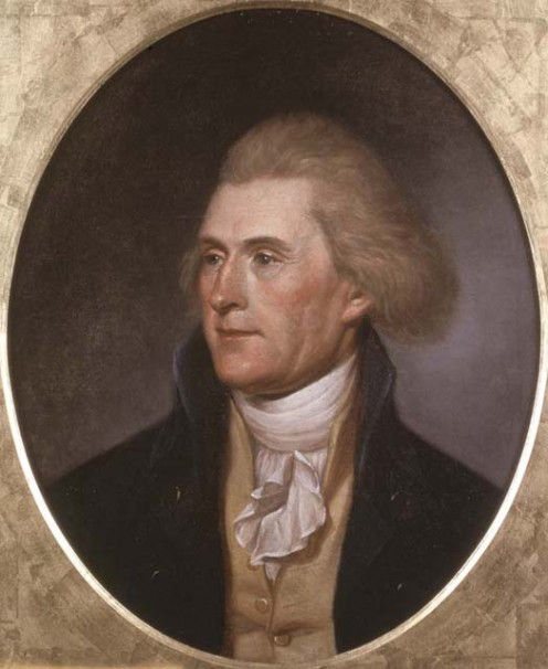 A portrait of Thomas Jefferson painted by Charles Wilson Peale in 1790.