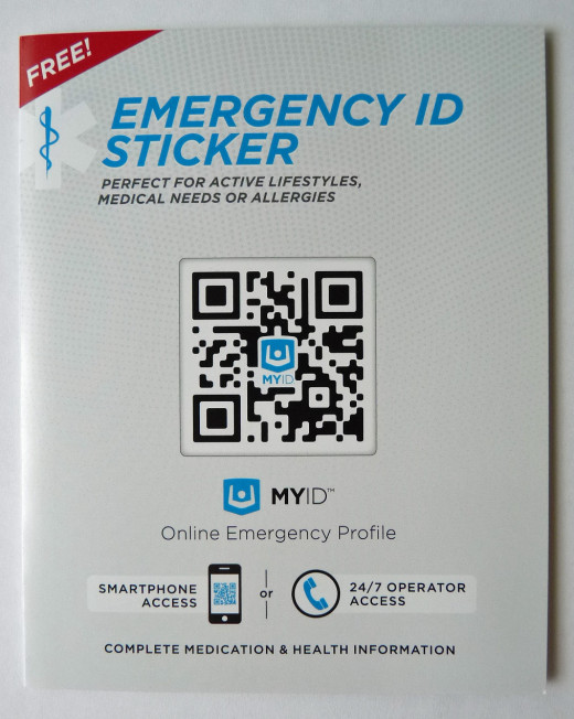 MyID™ Sticker Kit - You can get this packet of two QR code Medical ID stickers for free on Endevr.com. (Shipping not included) Or, if you order a bracelet (or another product) from their website, you can also just add them to your order.