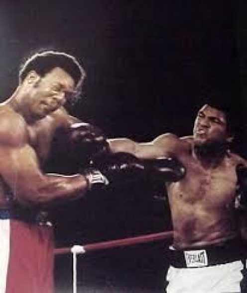 Muhammad Ali knocked George Foreman out in the eighth round in The Rumble in the Jungle.