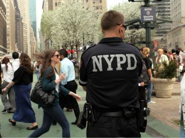 An NYPD officer on patrol duty in America's most densely populated city.