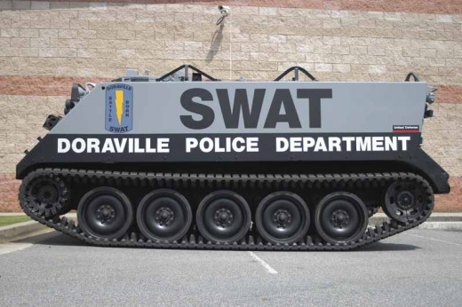 The SWAT team in this local town has received a tank from the Department of Defense in their war on drugs.