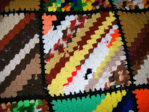 Mixture of browns, yellow, red, orange, etc.