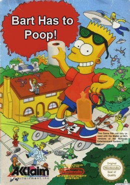 The original concept of the game involves Bart trying to find a bathroom. It made more sense than him spray painting purple objects in order to stop an alien invasion.