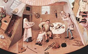 Gluttony in a detail from The Seven Deadly Sins and the Four Last Things by Hieronymus Bosch