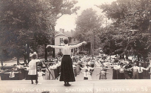 Breathing exercises at Battle Creek Sanitarium (c. 1900). Postcard of Battle Creek Sanitorium, Breathing Exercises, circa 1900