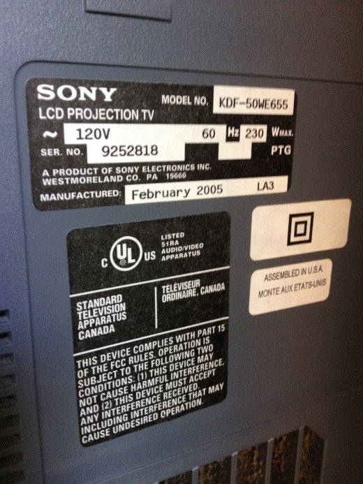 This photo was taken from the back of the TV on the spec plate. You'll be able to see what the make, model and serial number of your TV is on this plate.