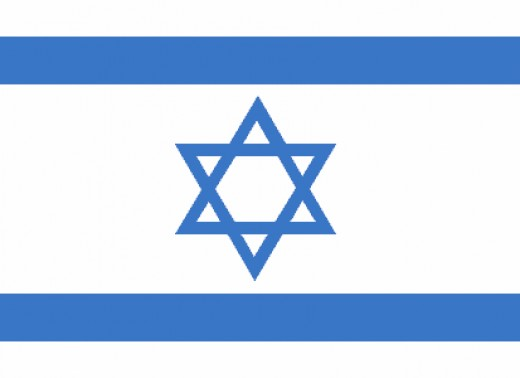 The flag of Israel used from 1948 onwards.