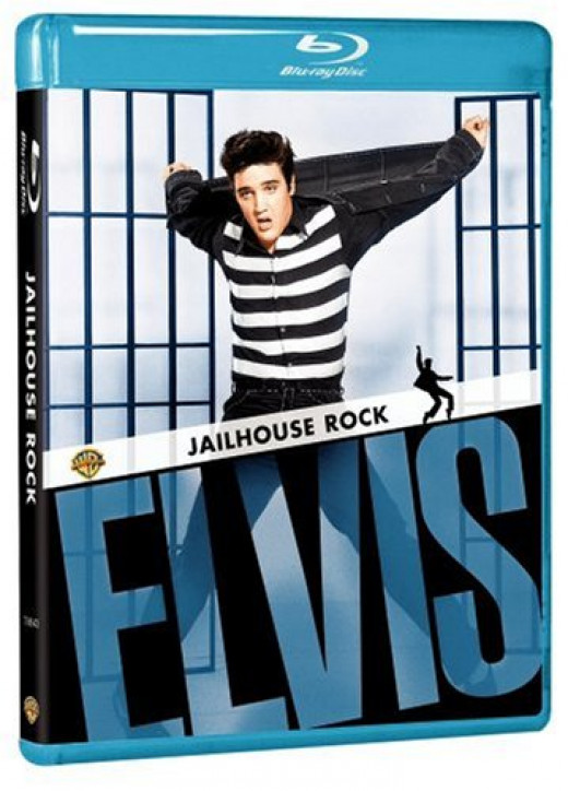 Elvis is shown here in the 1957 movie, Jailhouse Rock.