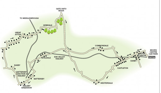 Battersby local area map shows the rural neighbourhood, winding roads around the railway to Whitby and Middlesbrough